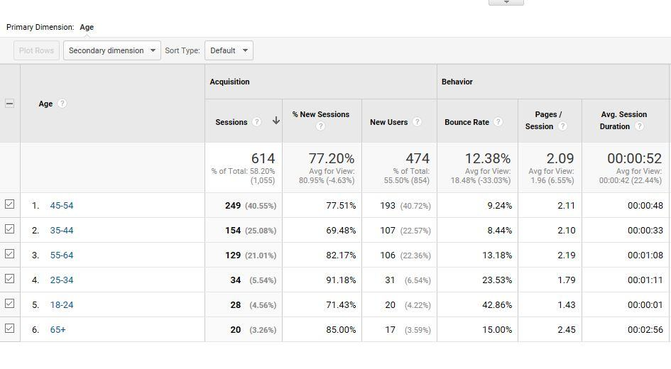 Google Analytics Audience Age